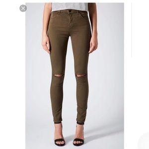 Khaki Topshop Leigh Jeans
